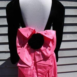 1960s Black Velvet and Pink Taffeta Bow Prom Dress